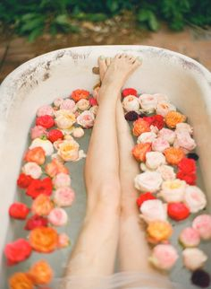 bathtub with flowers